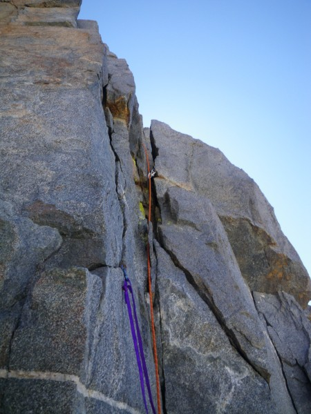 Start of pitch 12, Justin's lead.  Note clipped piton.
