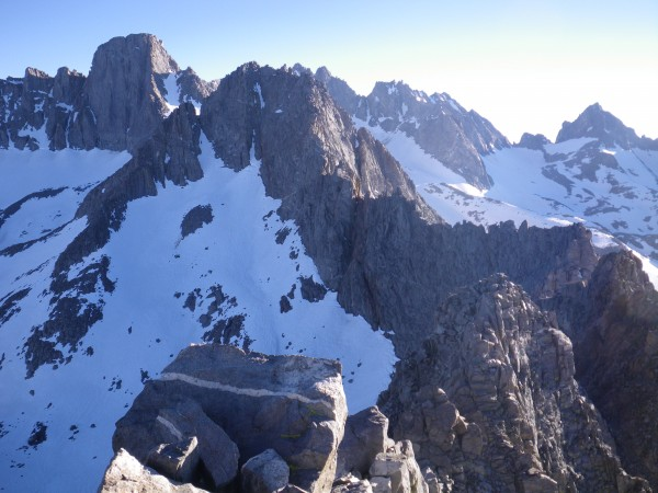 Mt. Gayley and Mt. Sill, from the summit of Temple Crag.