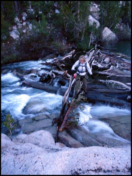 After 14 hours on the go, a twilight log crossing presents the last ob...