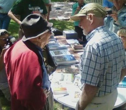 Glen Dawson &amp; Royal Robbins chatting at the Angeles Chapter Centennial...