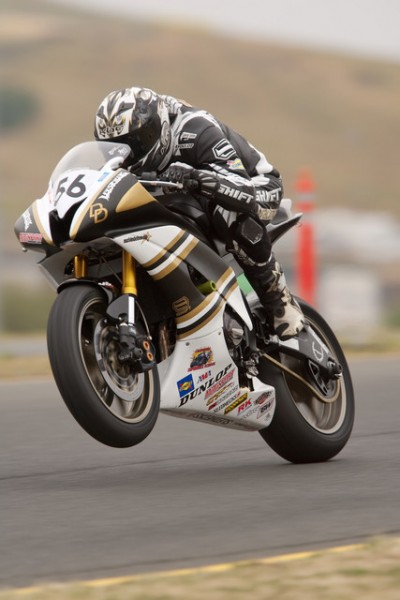 a little wheelie action over the crest into T9 at Infineon