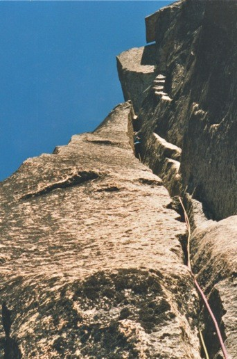 Phil Gleason on North Face of Burgundy Spire. 5.10 Yosemite-like flare...