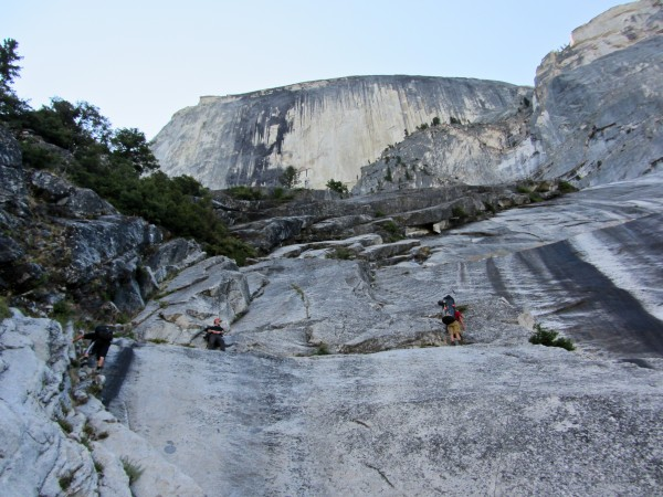 Looking up at the RNWF of Half Dome, from the Death Slabs <br/>