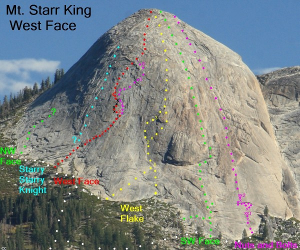 Mt. Starr King - West Face overlay <br/> updated 6/2012