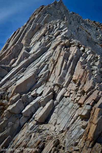 The headwall.  We stayed on the right arete almost to the top of the f...