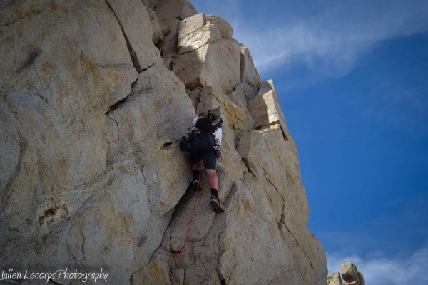 Rock climbing crux of the route