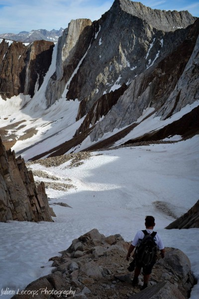 Descending into the southeast gully towards Checkered Demon and Kinder...