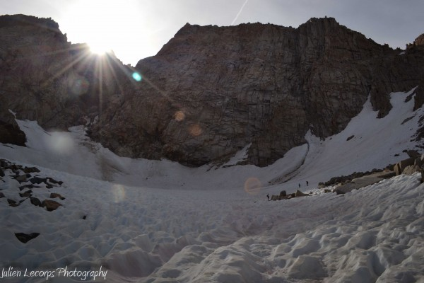 The Humphreys headwall with our descent gully on the right