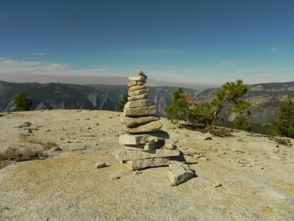 Large Cairn on the trail down to north dome