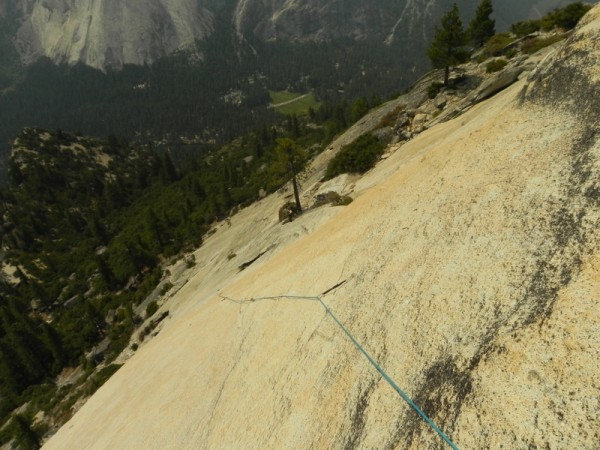 2nd belay of crest jewel, looking at start tree