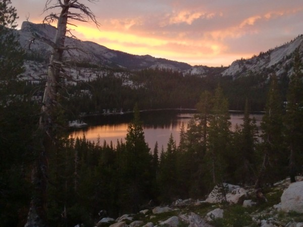 Tenaya Lake at sunset.
