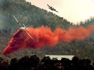 Hawkins &amp; Powers PB4Y-2 Tanker 121 over Hayman Fire June 2002