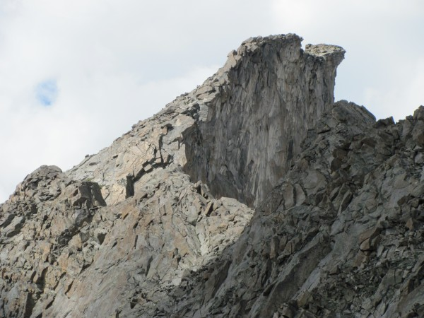 Wild overhang on the ridge high on Hooker seen from hiking over hailey...