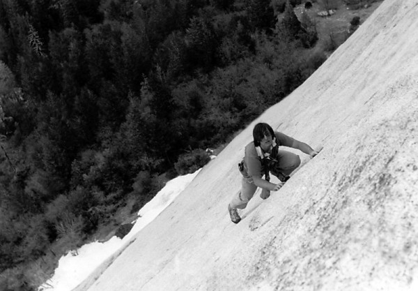 Free-soloing Patio Pinnacle, Yosemite Valley, late 1970s
