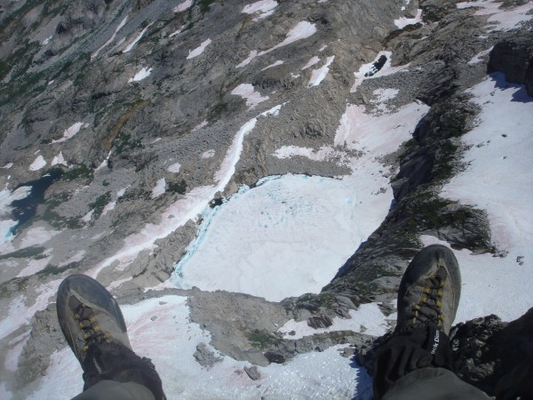 Precipice Lake.  Looking straight down from Eagle Scout Peak. Heavy sn...