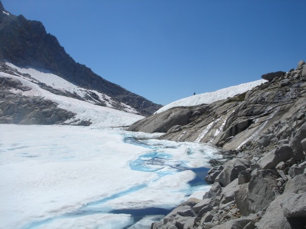 Precipice Lake with a nearly complete ice cap on August 11, 2011.