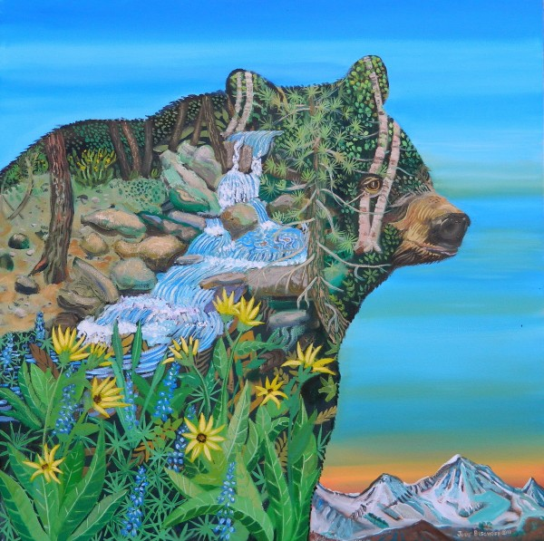 """Plein Air bear II""  Oil on Canvas 36""x36"""