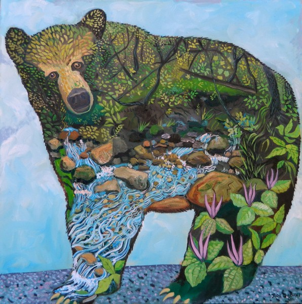 """Plein Air Bear I""  Oil on Canvas  36""x36"""