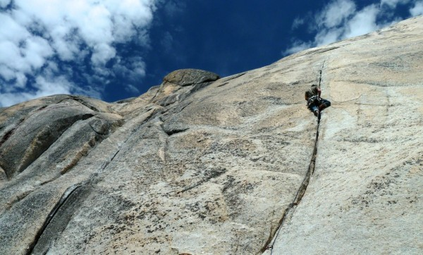 Ryan Carlton on the Great Circle Route. At the end of the crack face c...
