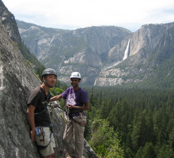 Ivan and myself at the belay, taking in the views.