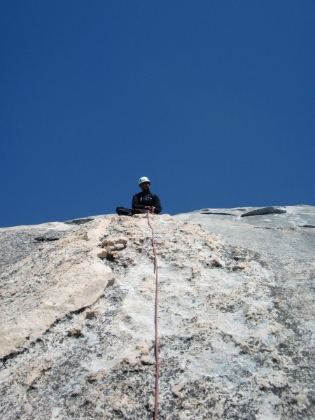 Belaying at the top of P6.
