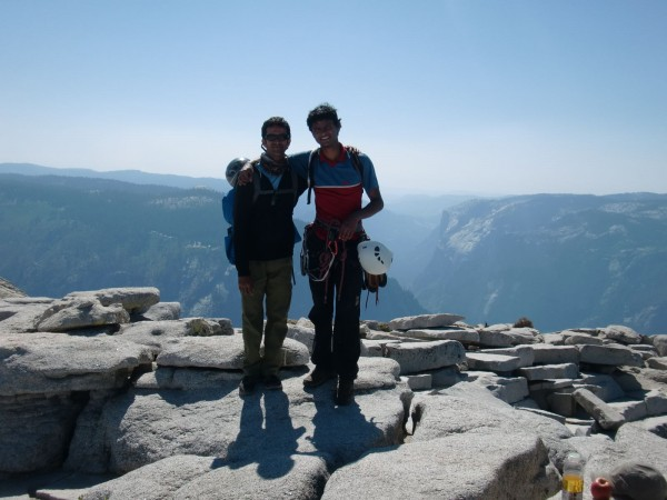 El Cap in the background. Anil and I.