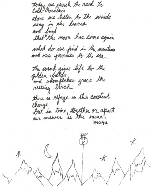 Mugs' poem. His handwriting and art work.