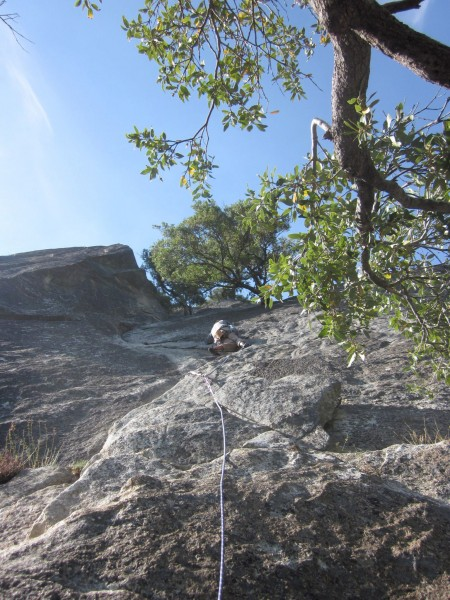 Climbing to the first belay station
