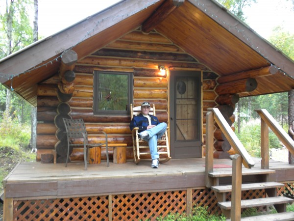 Ferretlegger on porch of our cabin in Talkeetna.  Old climbers on rock...
