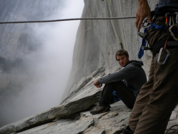 Foggy day at the alcove swing, El Cap.