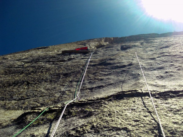 The sixth, crux pitch just above the dike (Separation Anxiety). Steep,...