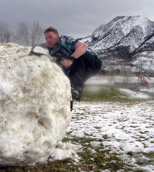 "Attempting to start the new sport of ""Snow Bouldering"""