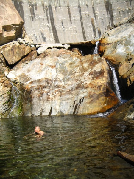 Swimming hole below Larry Land.  Not recommended!  Dam in the backgrou...