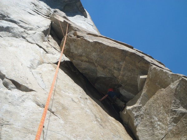 Contemplating what I'm getting myself into on the overhanging 5.10a OW...