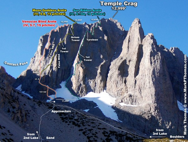 The 3 classic arete climbs on Temple Crag. Dark Star, which ascends th...