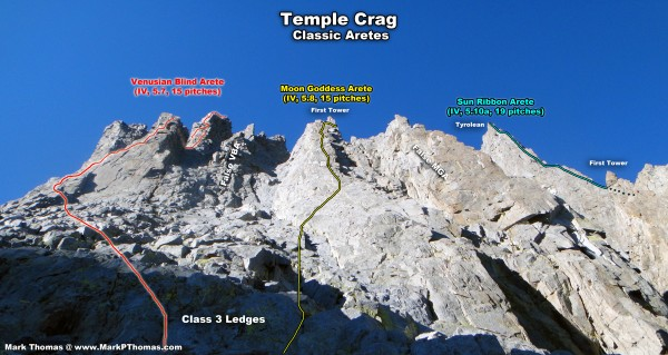 Temple Crag Aretes from the ledges. Climbers often get lost here. Take...