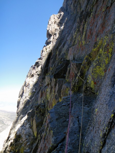 Looking back on the crappy loose downclimb & traverse before I started...