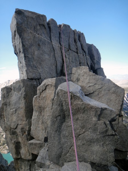 Looking back at the annoying 15' rappel. It took longer than I had lik...