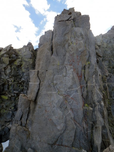 The 2nd to last pitch on the route (5.7), or our last pitch! S...