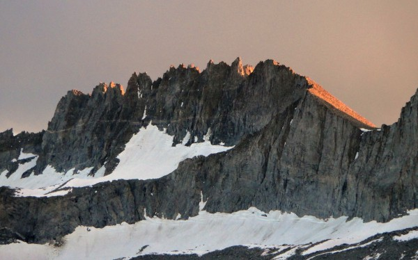 The Palisade Crest (proper) at sunset from the topout of Moon Goddess ...