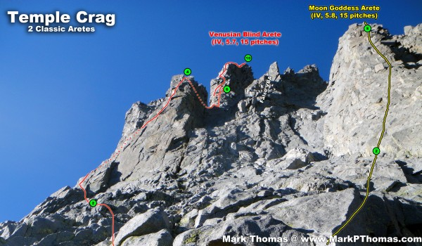 VBA &amp; MGA from the approach ledges. Numbers correspond to the belay nu...