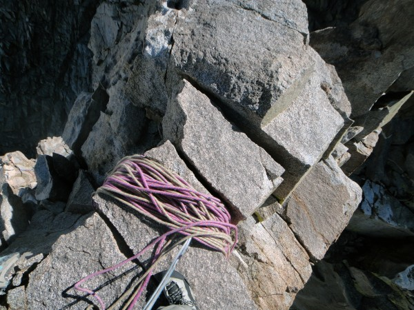 Natural rope bucket at the belay between P12 & P13, which for us was a...