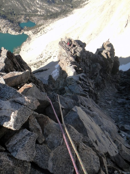 Looking down Venusian Blind Arete from the top of the route.