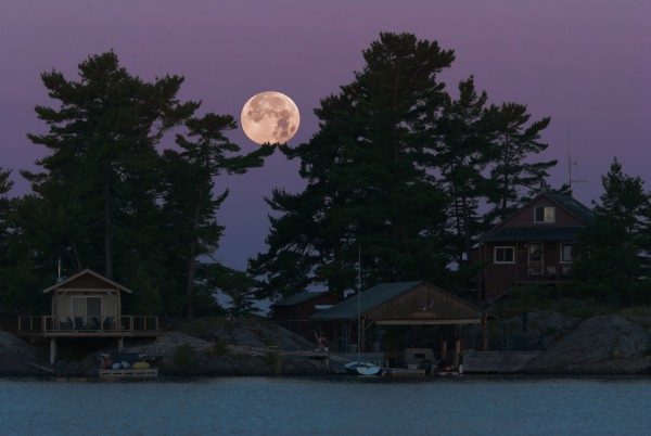 Moon set with my families cottage.