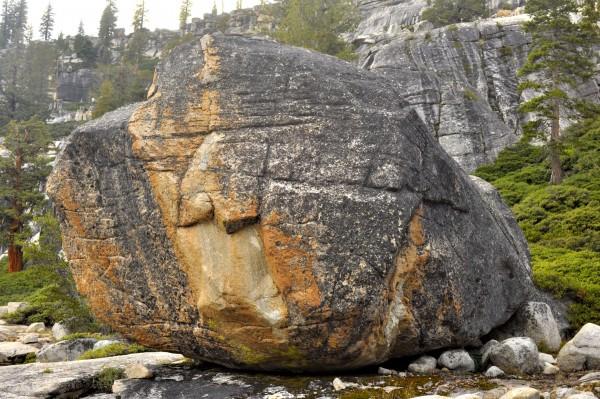 Undeveloped orange boulder, Olmstead Canyon