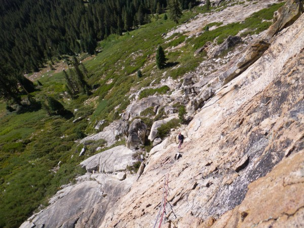 Looking down the mellow plates; partway up the second pitch