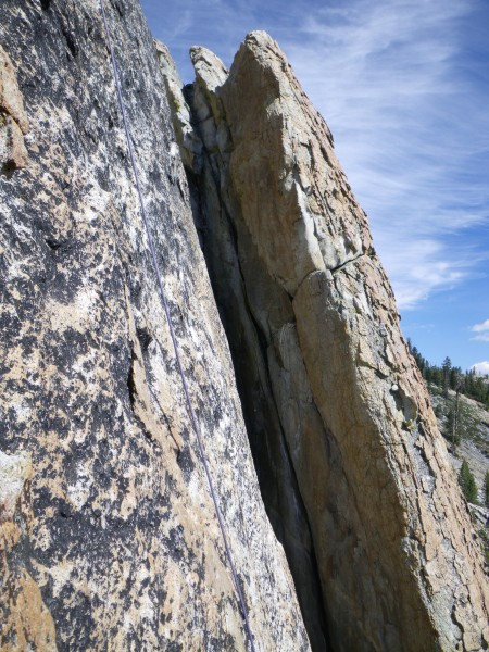Shooting Star Chimney (5.8+), from Golden Nugget rappel
