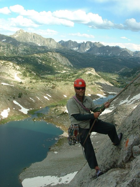 Mike M in the Wind Rivers, Wyoming.  Looking south to the Cirque of th...