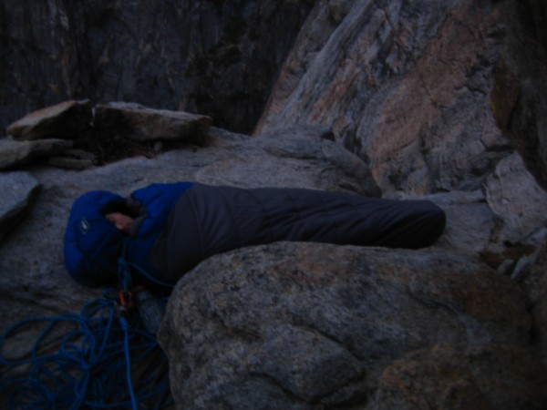 An awesome bivy spot - Shaun sleeping soundly on my mat (his was at th...